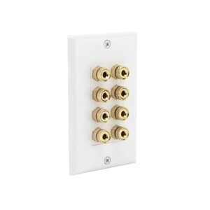 Speaker Wall Plate 1-Gang with 8 Binding Posts